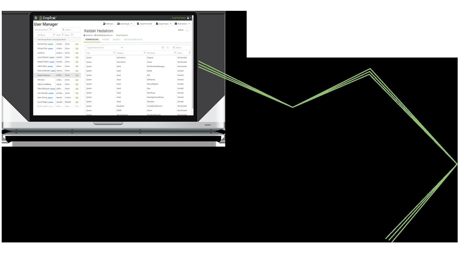 CropTrak Admin on Macbook