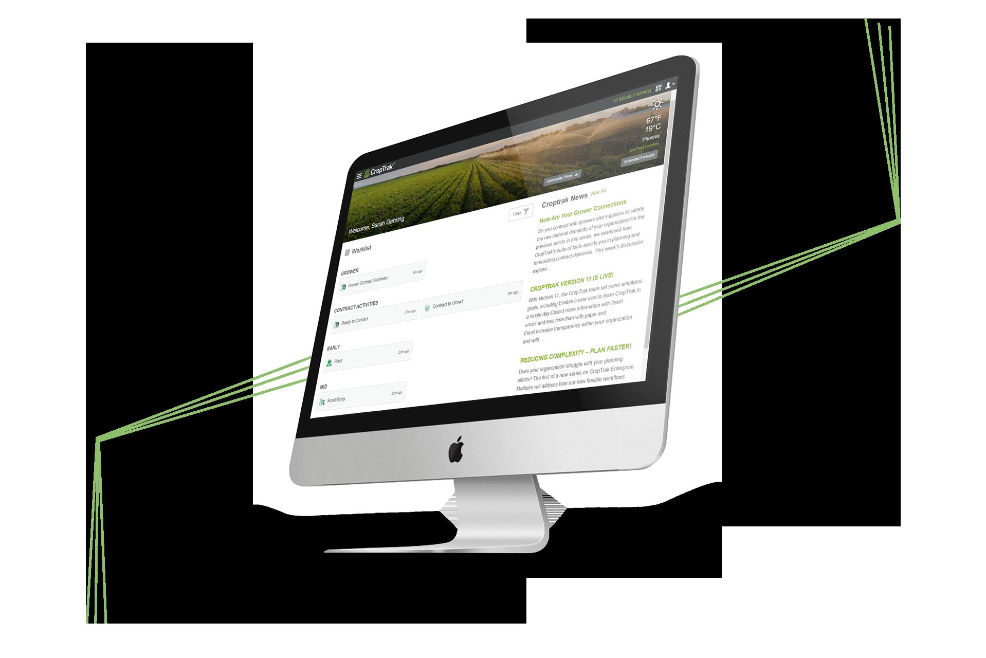 CropTrak Worklist showcased on Mac